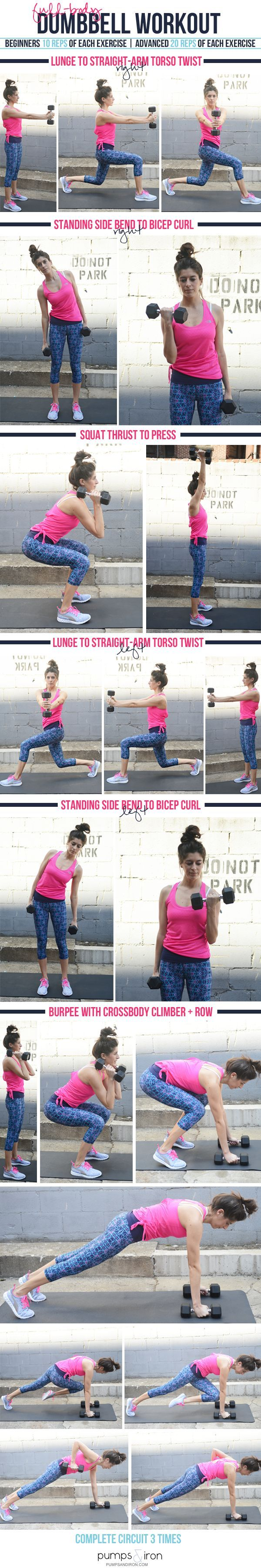 Full Body Dumbbell Workout With Compound Exercises Health Circuit Weights Workouts Pinterest