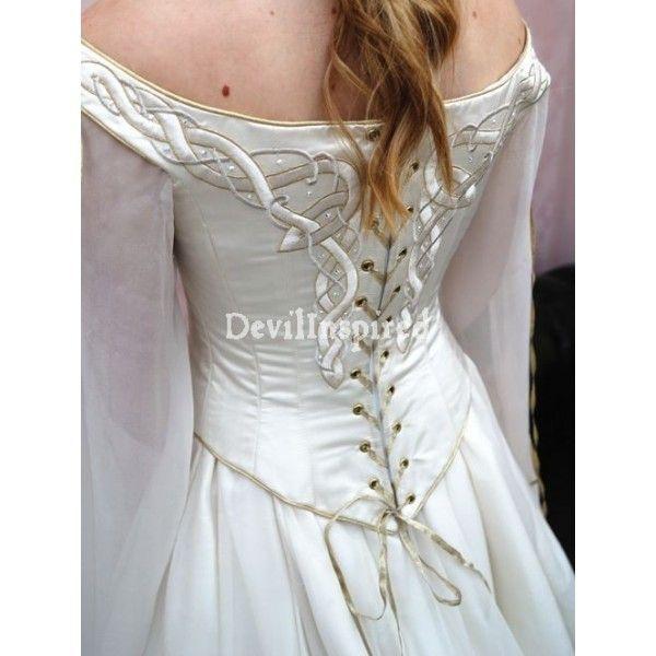 Celtic Wedding Dresses White Pale Blue Medieval Bridal: Celtic Wedding Dresses