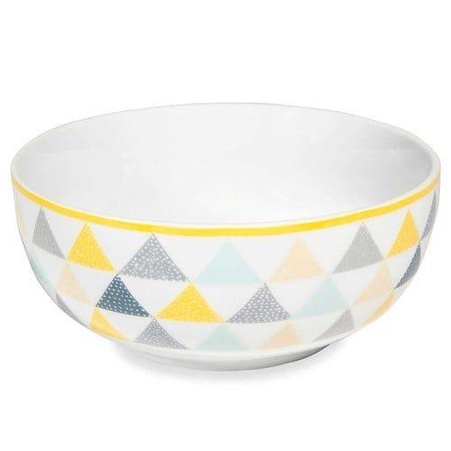 Ensaladera de porcelana blanca con triángulos LEMON