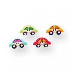 Botón coche de colores de madera