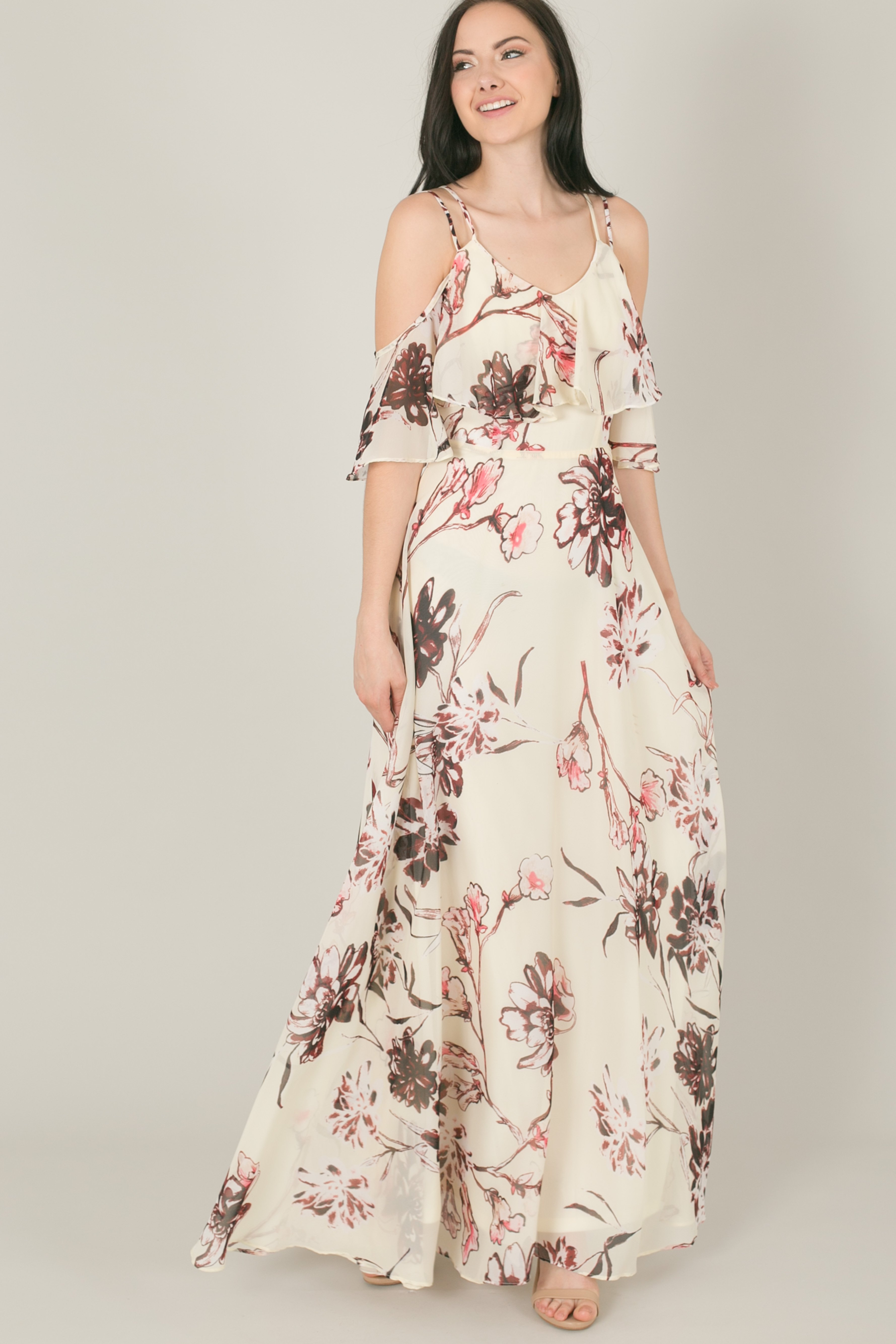 Raquel ivory floral flowy maxi dress products pinterest products