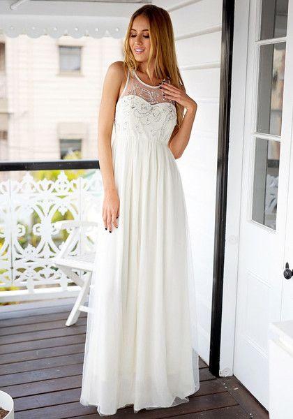 Pretty model wearing beige sequined prom dress | Diva Patrol ...