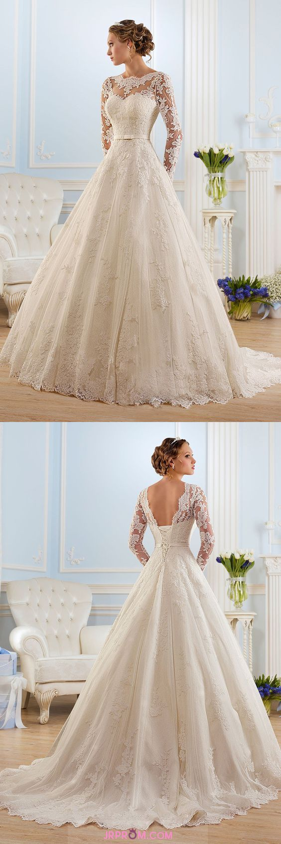 Tulle a line long sleeves wedding dresses scoop with applique and