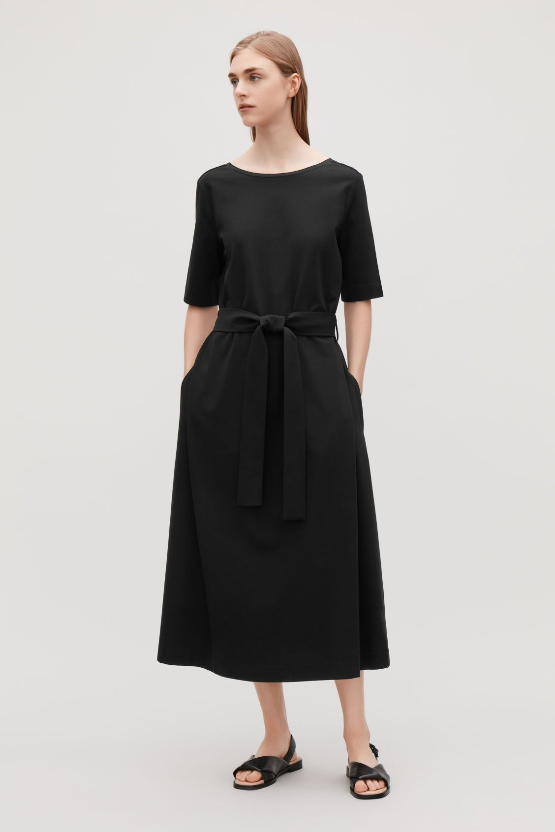 4960b171d0 Model front image of Cos long a-line jersey dress in black