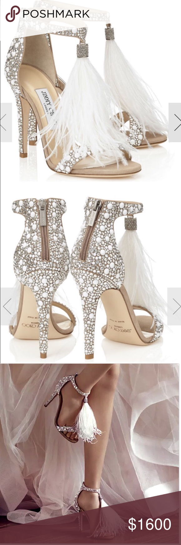 bd146d0980d Jimmy Choo Viola 110 White Suede and Hot Fix Crystal Embellished Sandals  with an Ostrich Feather