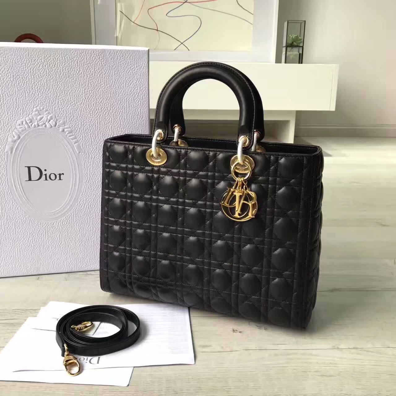 Christian Dior CD woman bag original leather version lady Dior large size
