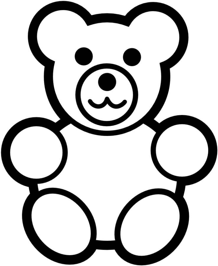 Teddy Bear Simple Black White Coloring Pages Online