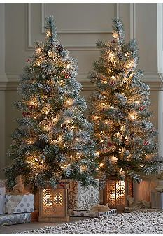 Make Your Entryway Look Elegant For The Holidays Pre Lit Flocked Mini Christmas Trees From Christmas Tree Village Flocked Christmas Trees Christmas Tree Lots