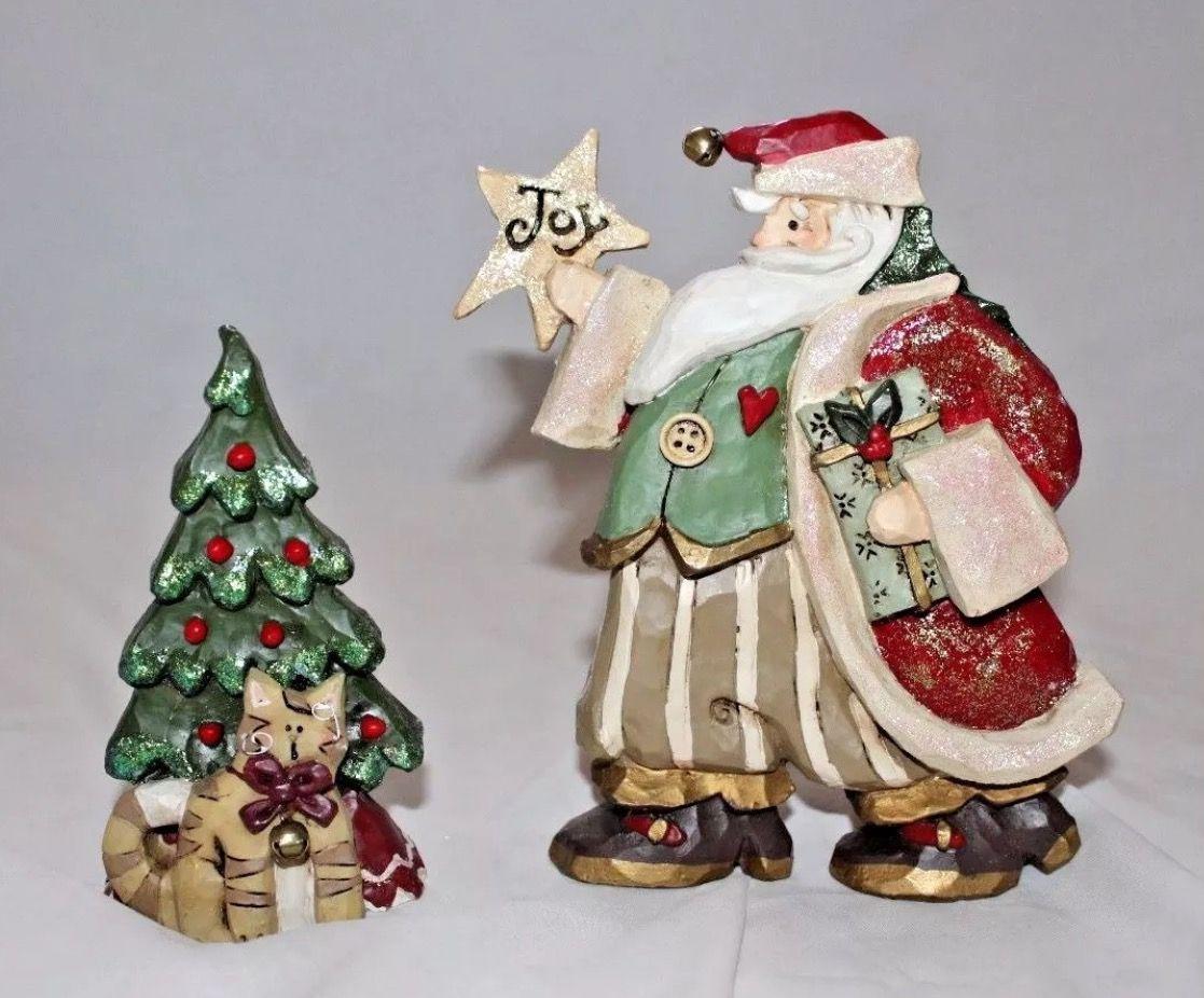 Kurt S Adler Snowtown Santa Decorating Tree 2 Piece Figurine Set Santa Tree With Cat The Christmas Village Decorations Santa Figurines Christmas Village