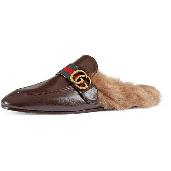 7df0aa1a57f Gucci New Princetown Leather Fur-Lined Slipper with Double G ( 995) ❤ liked