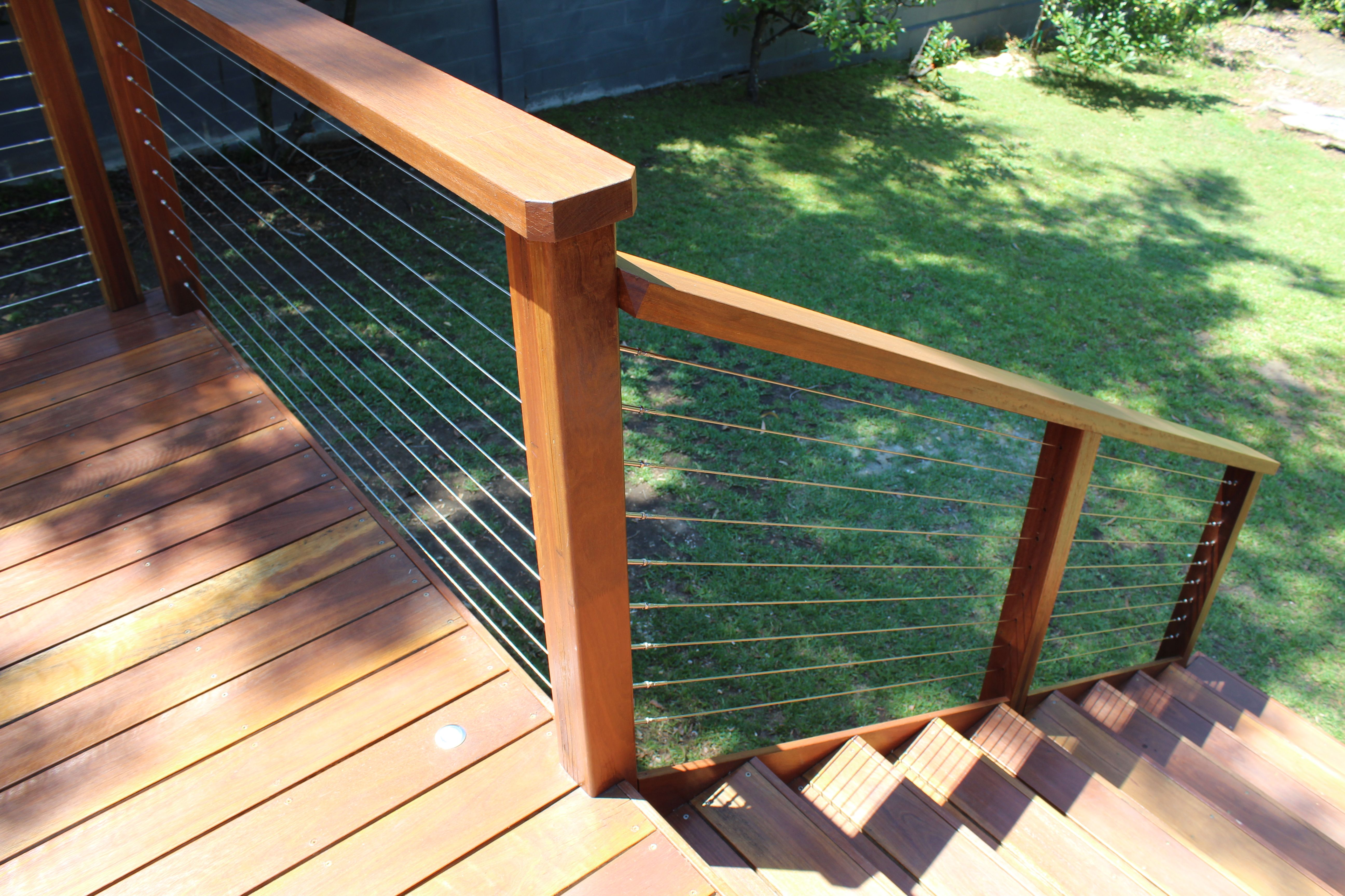 Harwood Balustrade With Stainless Steel Tension Wires Railings | Tension Wire Stair Railing | Stainless Steel | Simple | Aluminum Commercial | Residential | Wire Balustrade