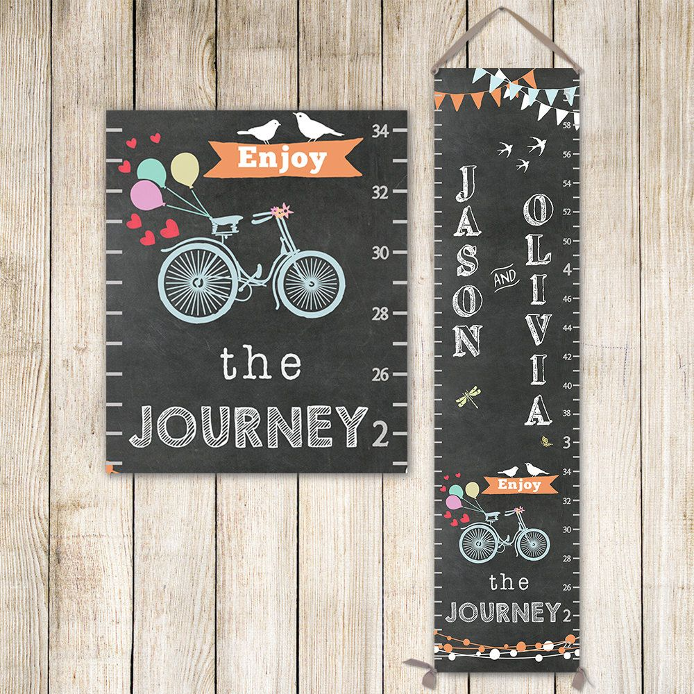 Personalized growth chart chalkboard growth chart with bicycle