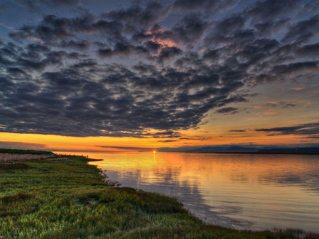 River Grass Cloudy Sky Sunset HD Desktop Wallpaper