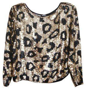 e954f34b34e8 Lord & Taylor & Sequin Brown Evening Top Leopard Print   Black tie ...