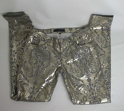 Juicy Couture Gold Foil gray denim Skinny Jeans size 28 skinny floral disco