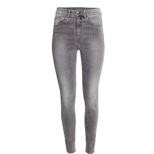 H&M Trousers High waist ($31) ❤ liked on Polyvore featuring pants, grey, h&m trousers, high rise pants, slim leg pants, high-waisted pants and h&m