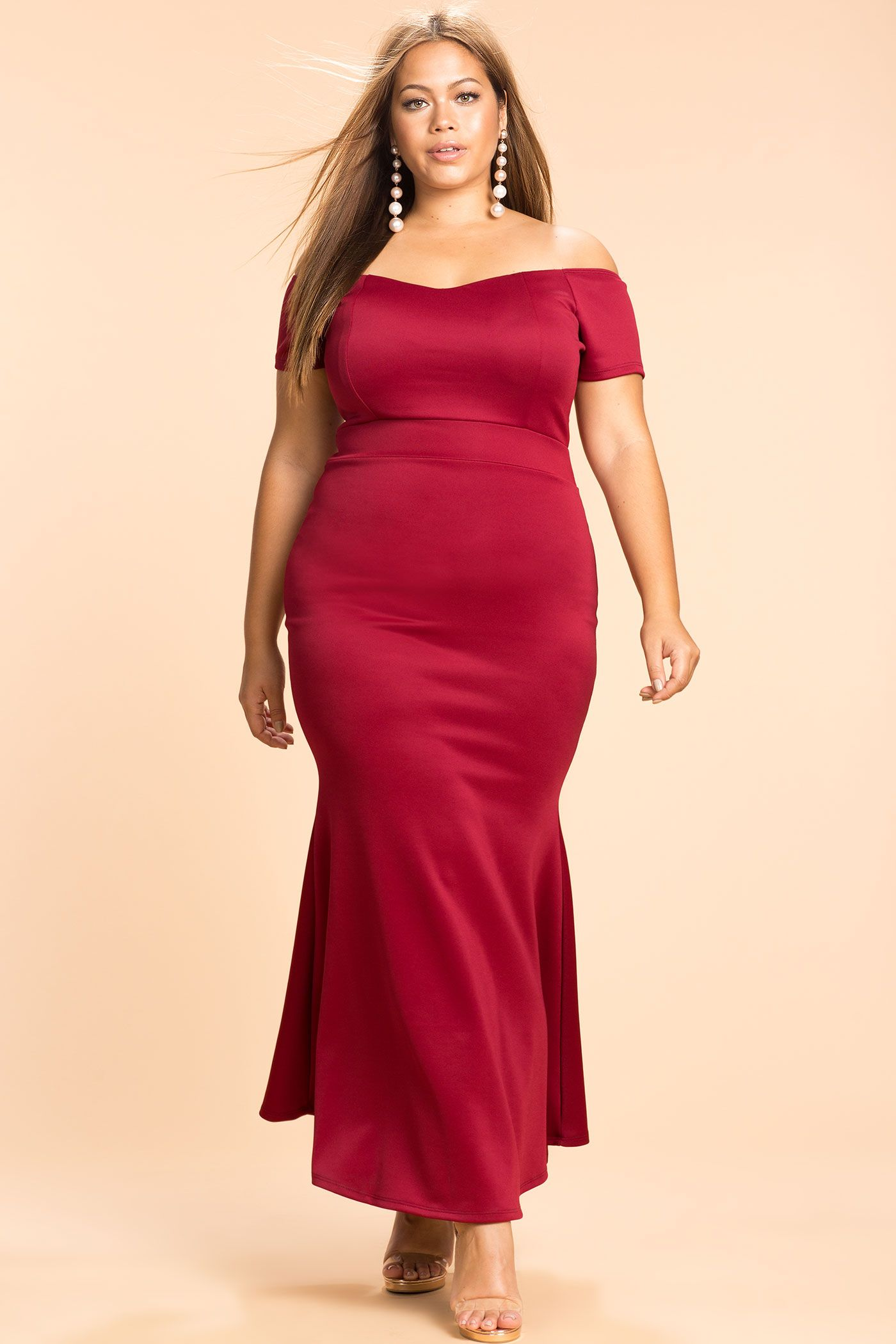 Plussize formal fall plus size mermaid off shoulder maxi