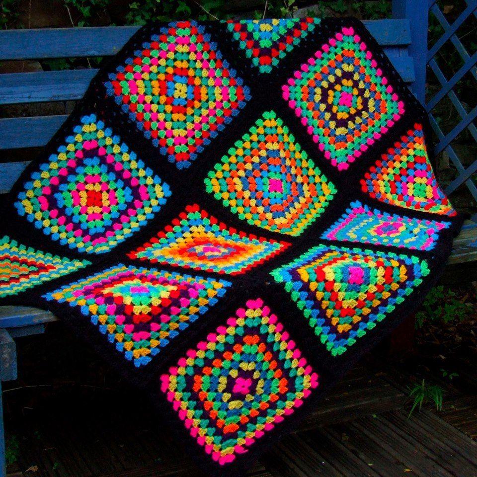 Coloridoecletico Adoro As Cores Neon Desta Manta Da Wool N Hook Crochet By Tashiab Basic Granny Square Stitch Diagram