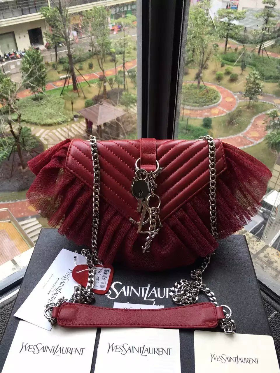 Limited Edition!2016 Saint Laurent Bags Cheap Sale-Saint Laurent Classic  Large Baby Monogram Punk Chain Bag in Red Matelasse Leather and Tulle 157d4ce327b6e