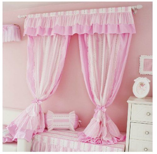 Diaidi Pink Living Room Curtains, Romantic Ruffle Polka Dot Window ...
