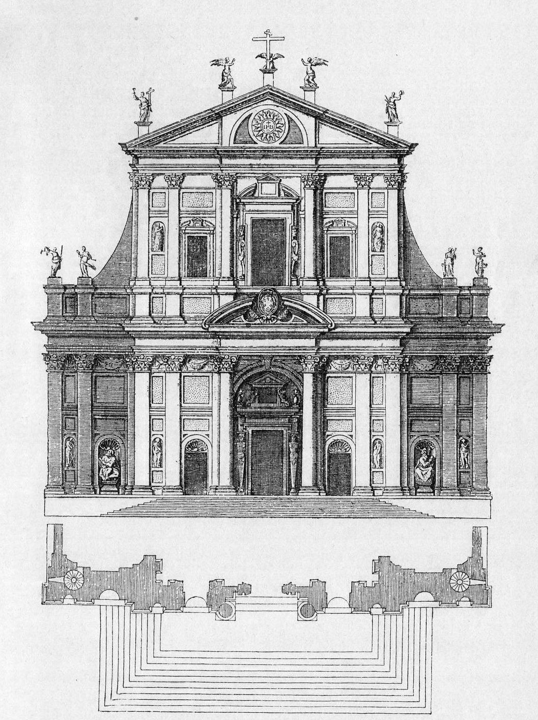 Vignola S Design For The Church Of The Gesu Rome Architectural Drawings