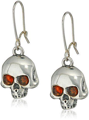 Amber Sterling Silver Skull Earrings