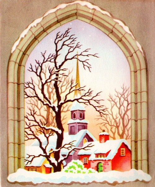 Classic Christmas Cards Christmas Past Churches Villages