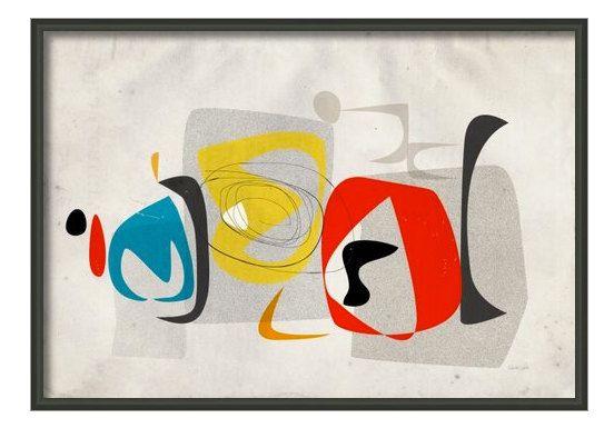 AuBergewohnlich Moderne Abstrakte Kunst, Mitte Jahrhundert Wandkunst, Retro Print,  Midcentury Drucken, Atomare Kunst