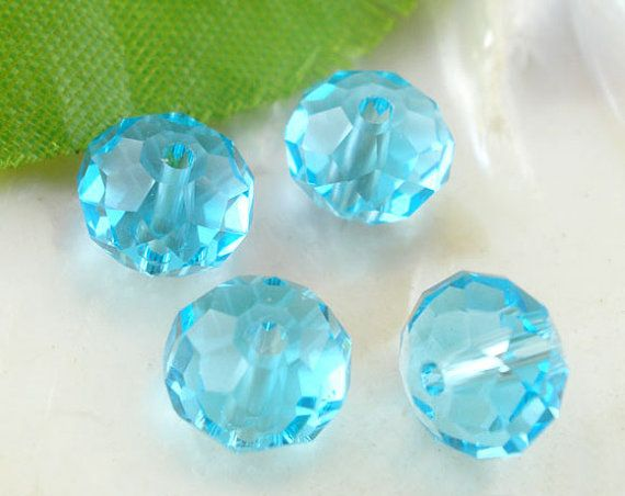 70 Pcs Aquamarine AQUA crystal Faceted Rondelle by LIKEITNOLOVEIT, $5.99