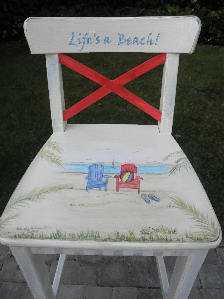 Hand Painted Bar Stool at the Beach Distressed by accentbydesign