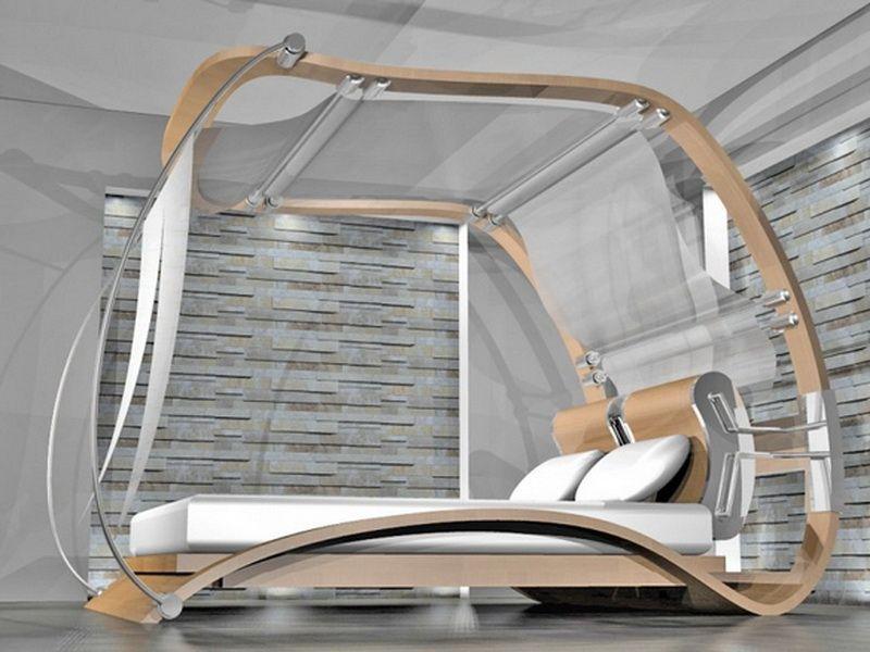 cama con dosel futurista #dosel #canopy #bed #bedroom #cama