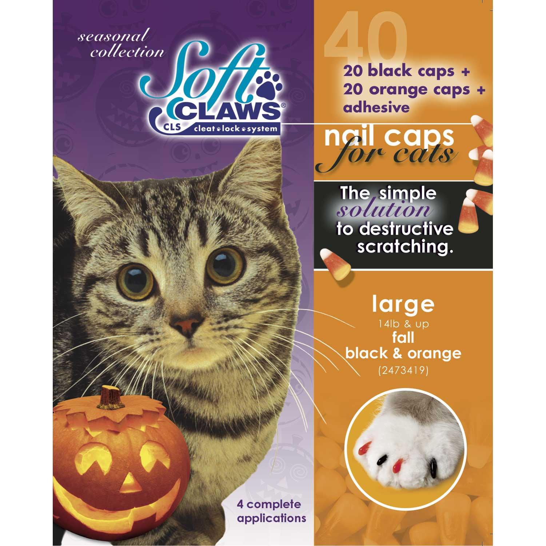 Superb Soft Claws Seasonal Halloween Orange Black Cat Nail Caps Download Free Architecture Designs Scobabritishbridgeorg
