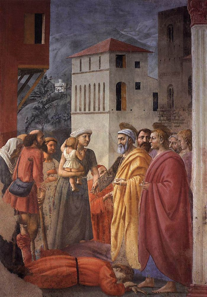 The Distribution of Alms and the Death of Ananias by MASACCIO #art