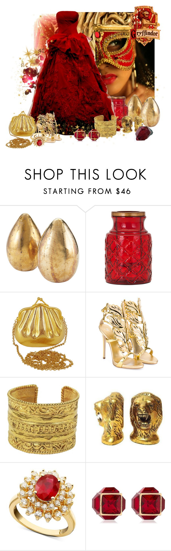 """""""Gryffindor ball gown"""" by caribea ❤ liked on Polyvore featuring Lazy Susan, Dot & Bo, Gucci, Giuseppe Zanotti, Chanel, R.H. Macy's & Co., Vita Fede, harrypotter, gold and red"""