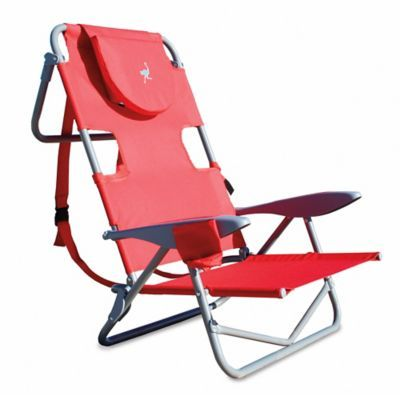 Ostrich On Your Back Reclining Beach Chair In Red