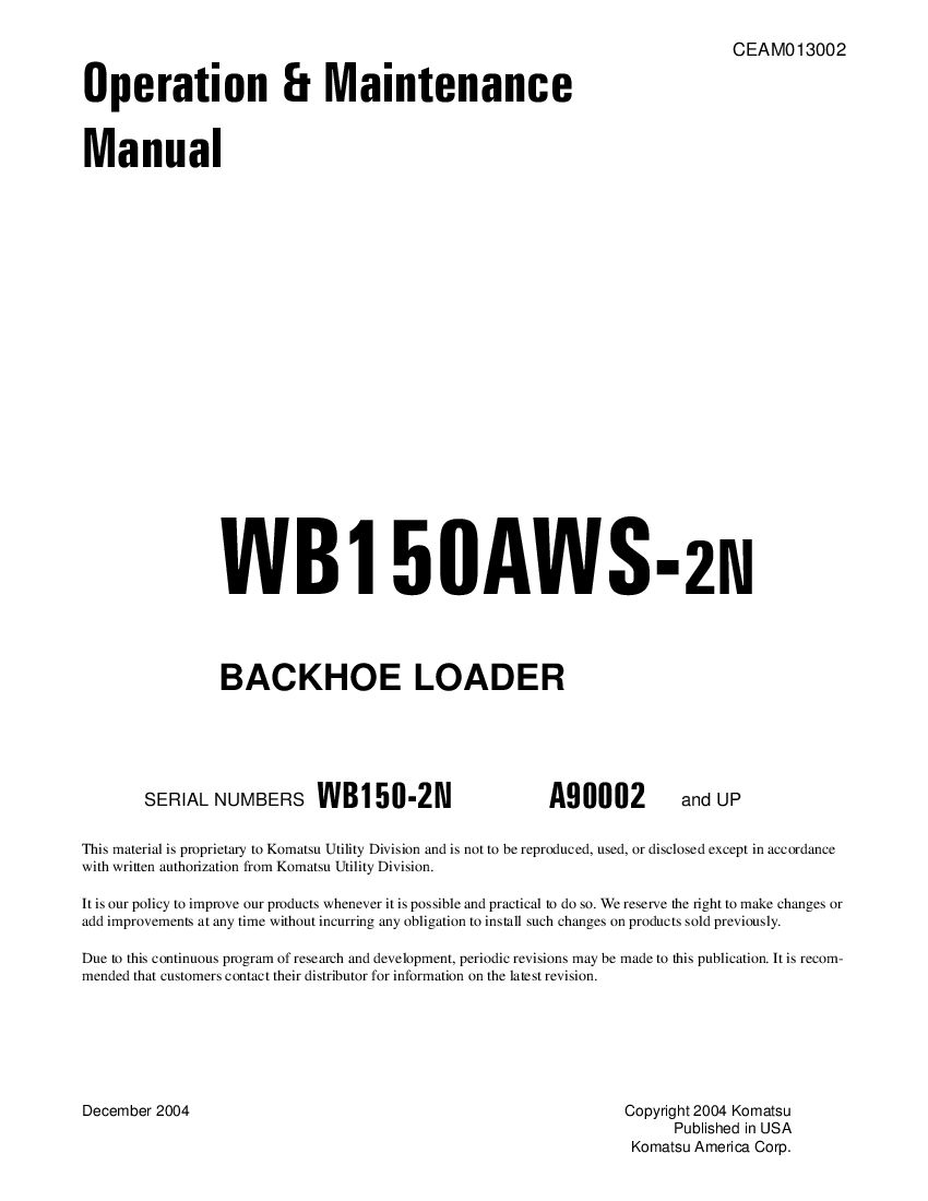 Komatsu Wb150aws 2n Backhoe Loader Operation And Maintenance
