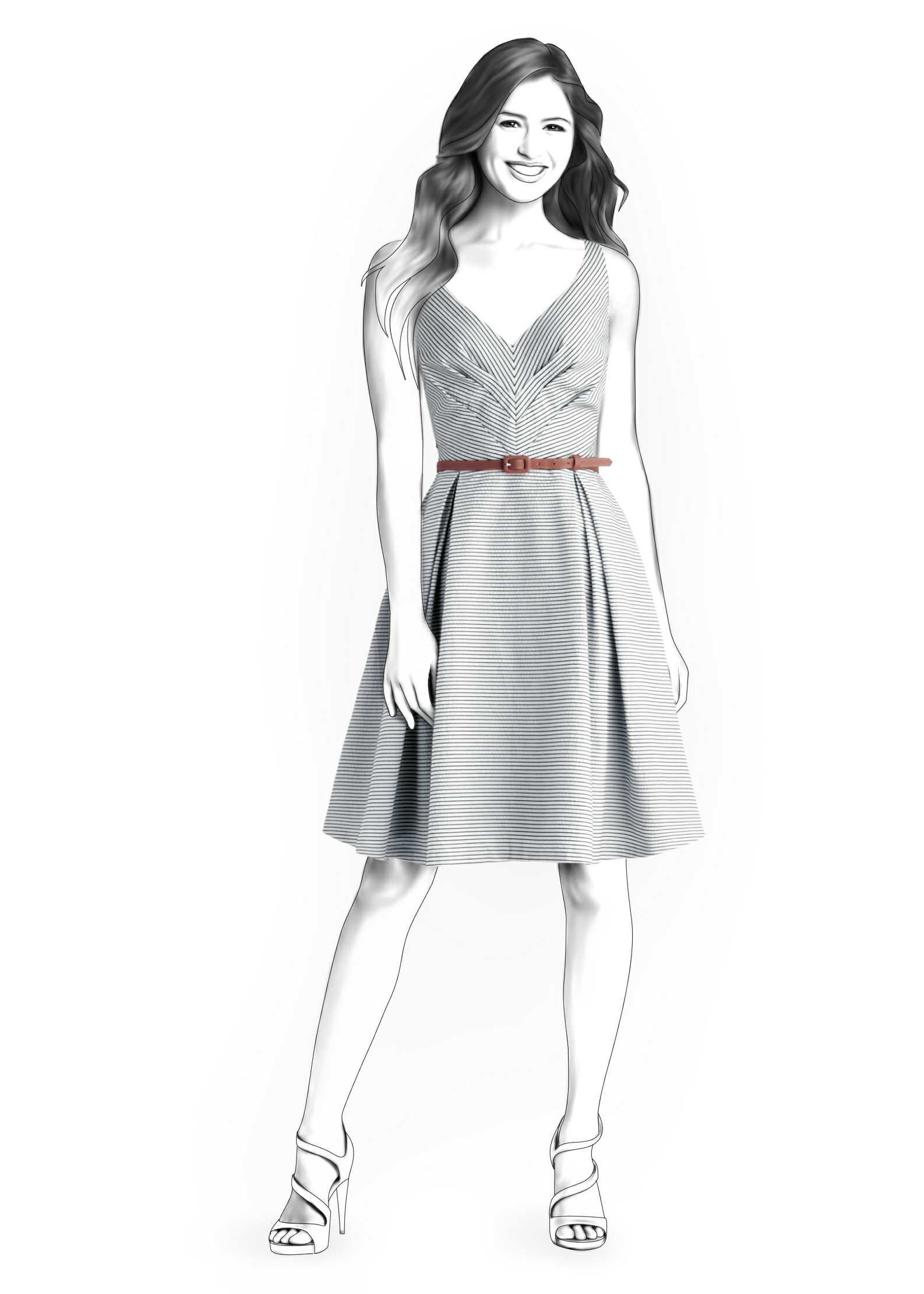Dress With Pleats - Sewing Pattern #4282 Made-to-measure sewing ...