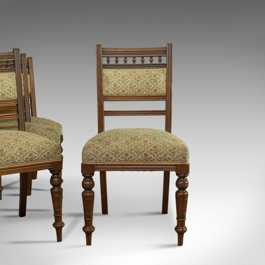 Antique Set Of Four Dining Chairs Edwardian Mahogany Upholstered Circa 1910 Dining Chairs Upholstered Antique Chairs Upholster Set of four dining chairs