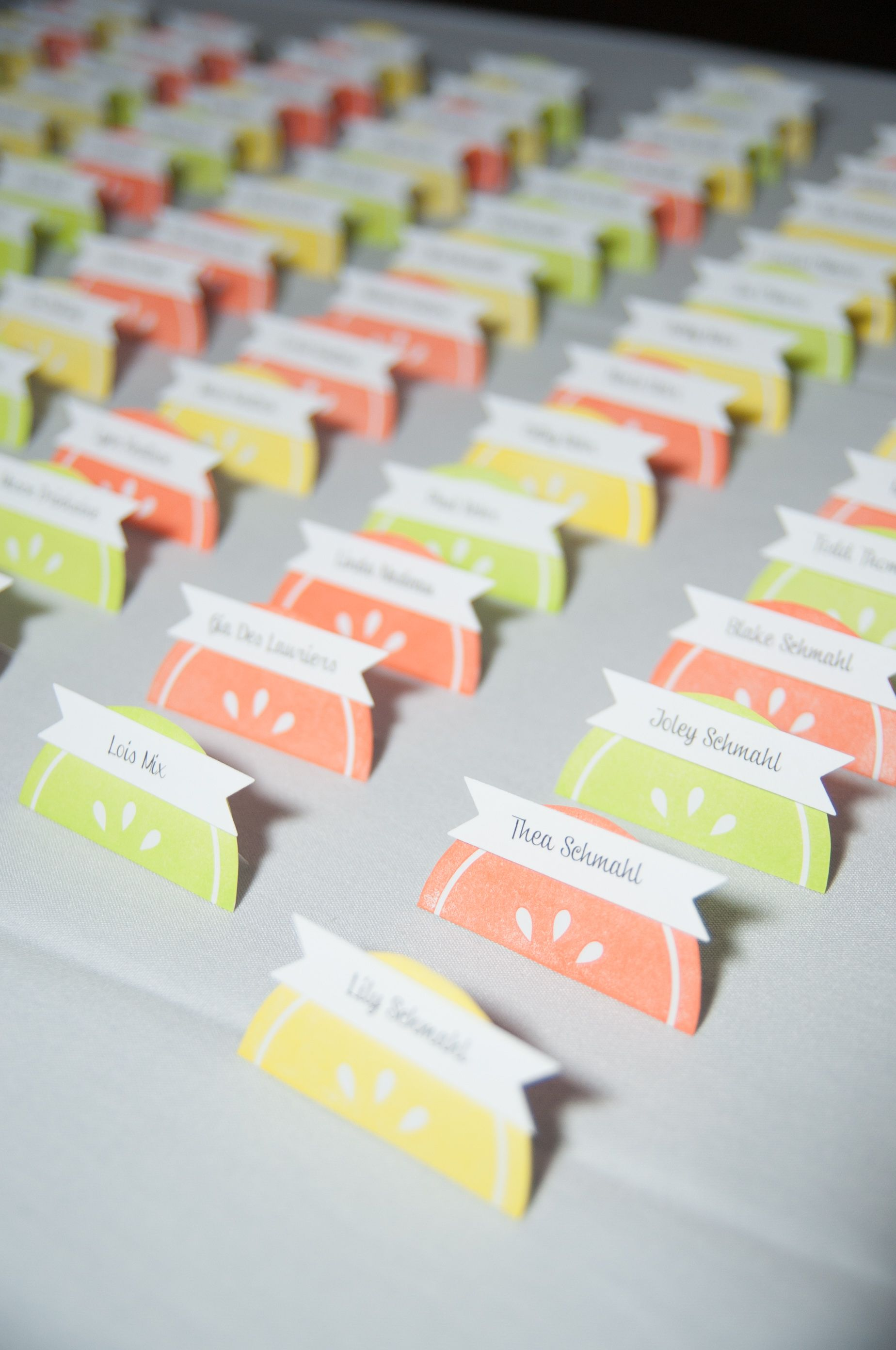 I made these place cards for my sisters wedding which was citrus ...