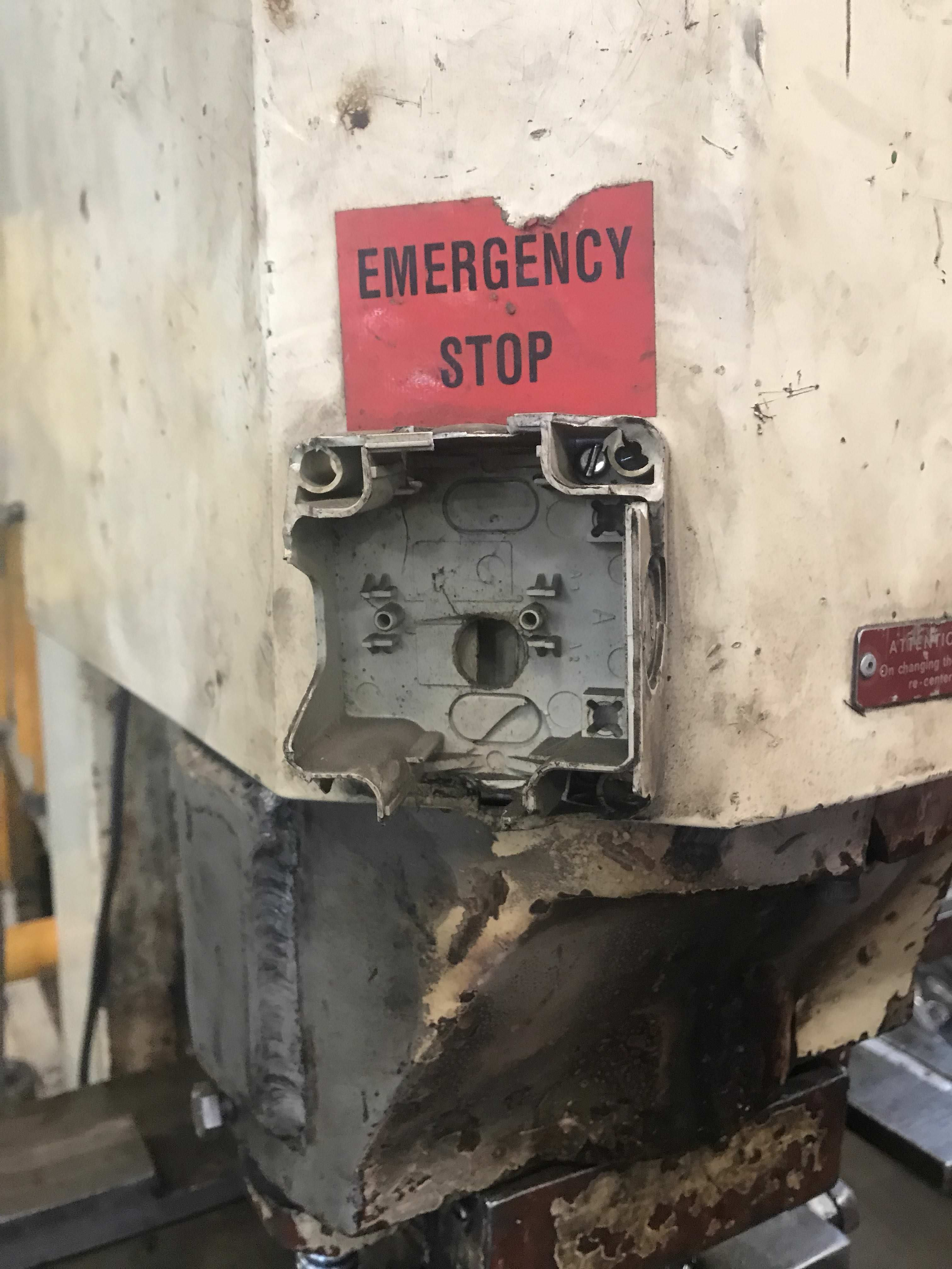 In case of emergency hit the E stop button. forklift