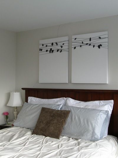 DIY wall art: take a wall decal and put it onto canvas, rather than the wall. I think I'll paint the canvas first.