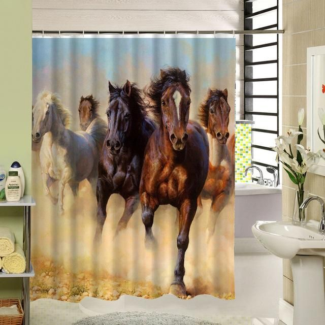 Horse Themed Waterproof Shower Curtains With 12 Plastic Hooks