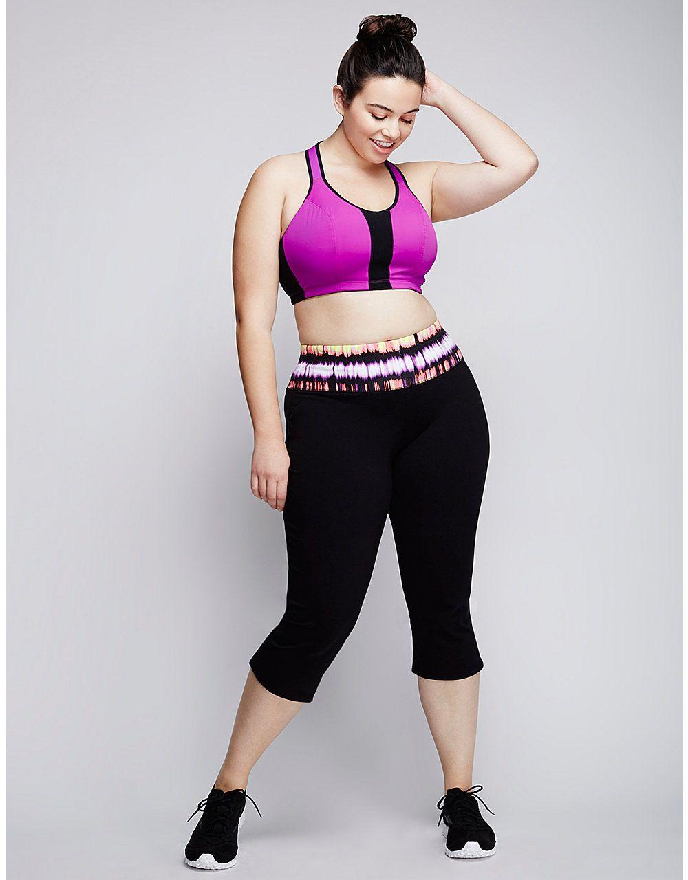 deb9713ebbf1f Signature Stretch logo yoga capri by Livi Active | Lane Bryant ...