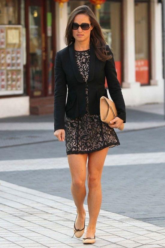 Black lace H&M dress, black (RalphLauren?) jacket, beige Lamb1887 clutch bag, a pair of French Sole contrast trim flats