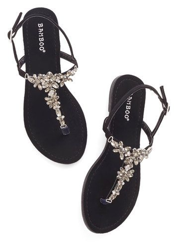 d8f7cb71b37c Shine Like You Mean It Sandal in Black. You wont have to convince your pals  that you know all about standout style - these gemstone sandals prove it!  NaN