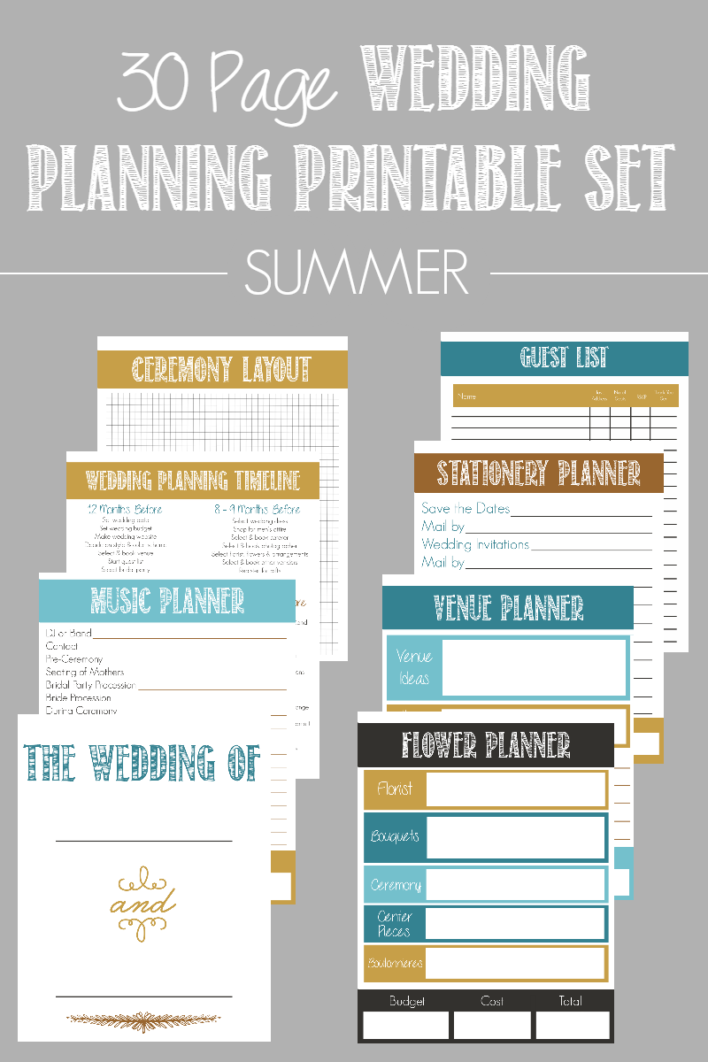 Page Wedding Planning Printable Set  Wedding Planning Wedding