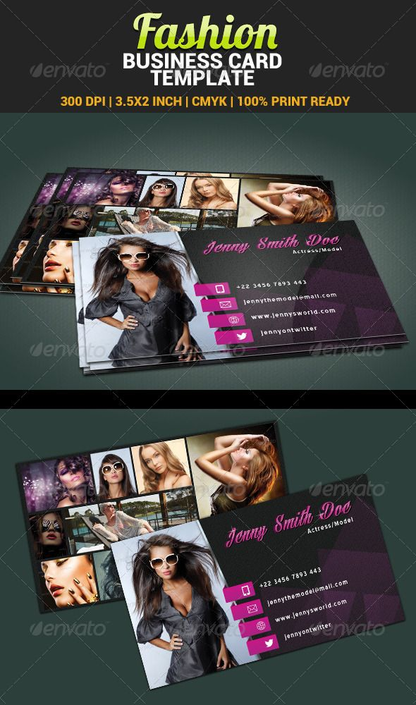 Fashion Model Actress Business Card Template Fashion Business Cards Business Card Template Business Card Template Photoshop