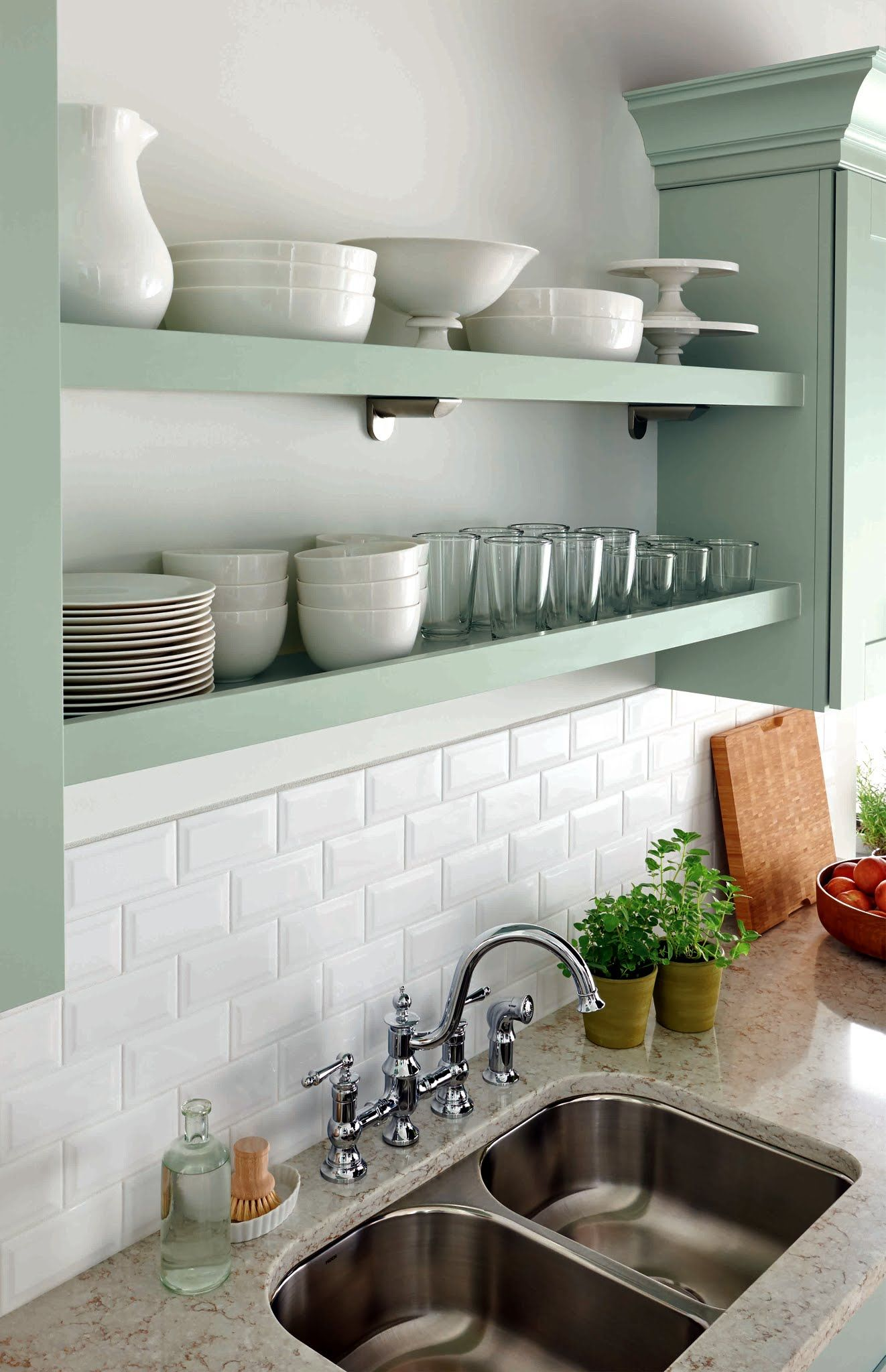 Combined With Shelf Supports Or Corbels These Clean Open Shelves Let You Create An Eye Catching Display Home Kitchens Kitchen Inspirations Kitchen Renovation