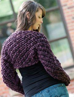 Cascade Jewel Chunky Openwork Shrug Free Vogue Pattern I ...