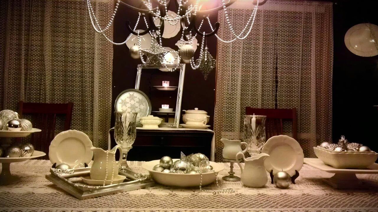 My white and silver blingy dining room.